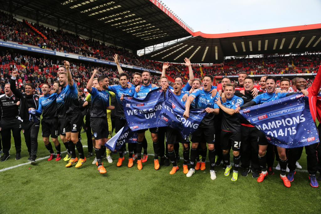 Cherries are champions of the Football League! Congratulations! Latest here #afcb http://t.co/0ZrbNXkJb7 http://t.co/B62c2I8nWI