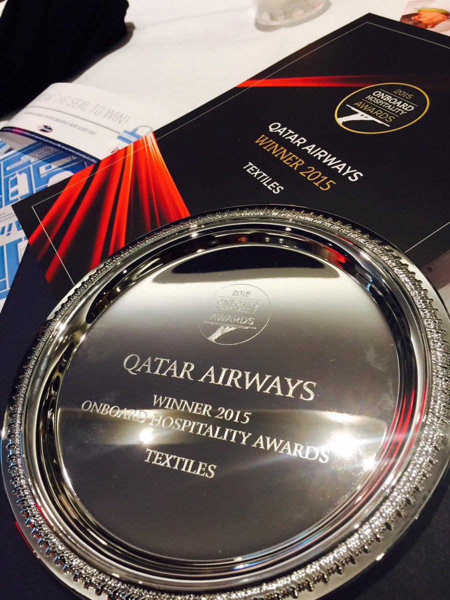 QatarAirways wins major accolade at The Onboard Hospitality Awards in Hamburg.
