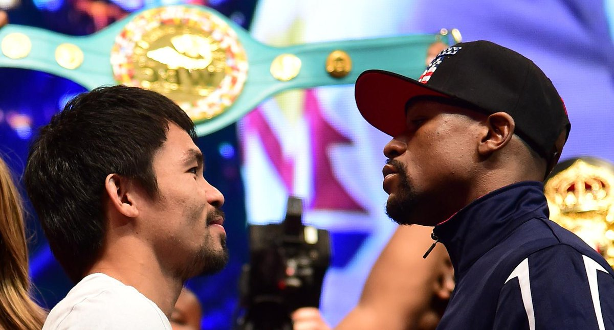 IT'S SHOWTIME! Who do you want to win?  RT – Pacquiao FAV – Mayweather http://t.co/z48Dxkxyyw