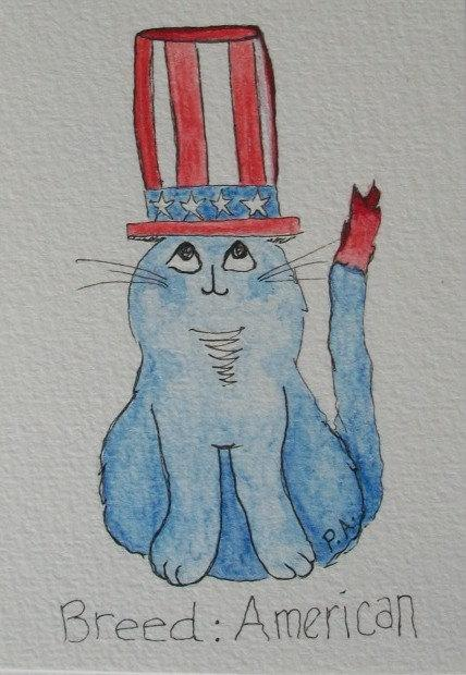 Breed: American - of course! https://t.co/XzKTLOJBMC #cat #patriotic #art http://t.co/E4PhgUNehn