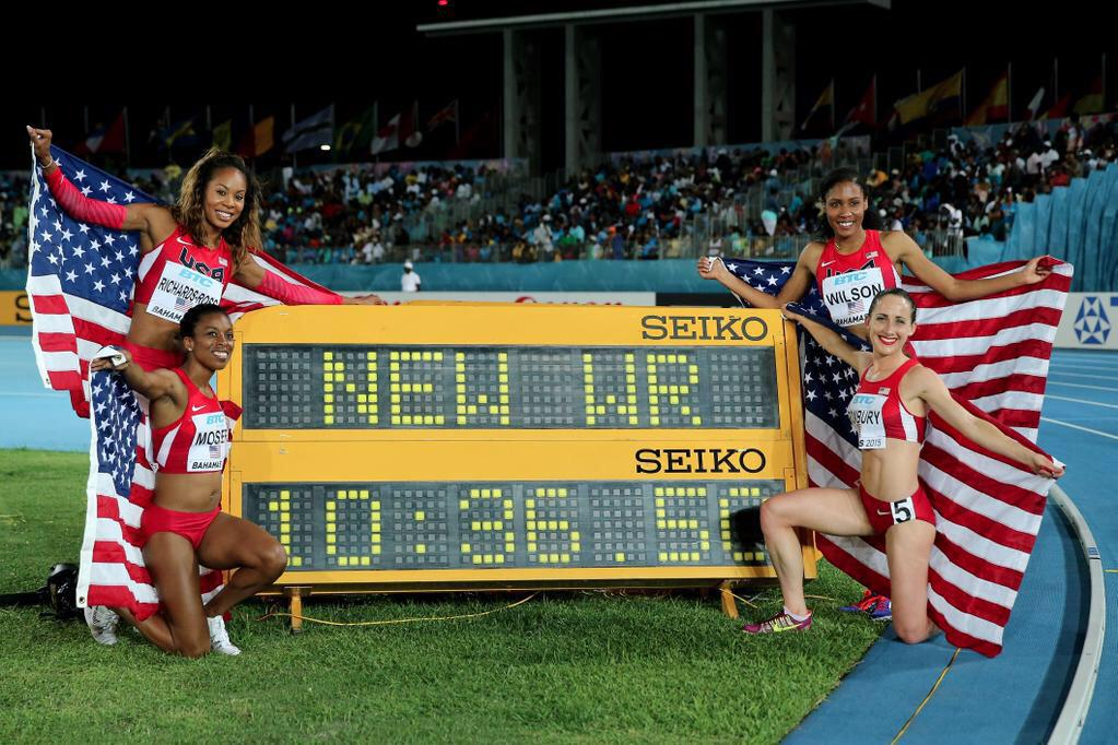 Truly honored to toe the line w/ these ladies & bring a New WR home for the Stars & Stripes! @worldrelaysbah @usatf http://t.co/Fky0T1g7h9