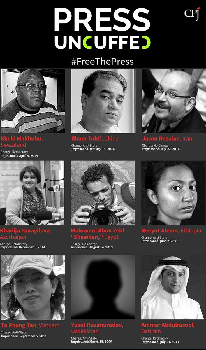 Journalists being imprisoned in record numbers. Join CPJ's #PressUncuffed campaign. #WPFD2015 https://t.co/y2XvWYeutu http://t.co/m85kQhBQyr