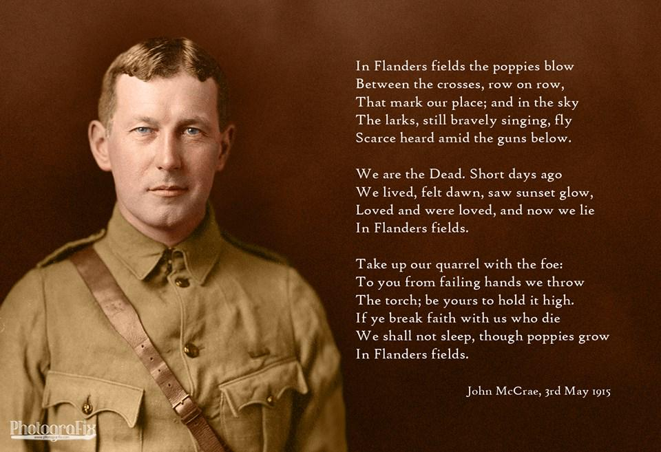 100 years ago Canadian poet and soldier John McCrae wrote arguably the most famous piece of literature of #WW1 http://t.co/sVZuYWBdZ5