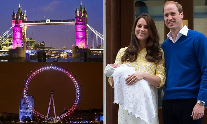 London turned pink last night in honour of William and Kate's new RoyalBabyGirl...