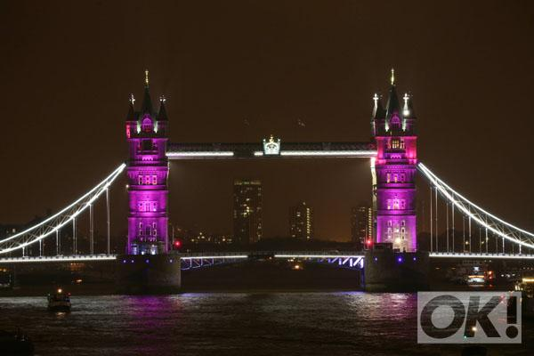 The world glows pink for a princess. All the pictures: