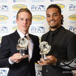 . @PFAScotland Player of the Year @stefanjohansen joins @celticfc team-mate Young Player of the Year @Jasondenayer http://t.co/cnFHCMm8F2