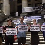 Solid rally in #Vancouver in support of #freepress @MFFahmy11 @DarcyJudy @FahmyFoundation #WPFD2015 #canpoli http://t.co/sQ1wMV9byG