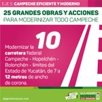 📢 Modernizar la carretera federal Campeche -Hopelchén-Bolonchén-limites de Yucatán, de 7 a 12m de ancho de corona http://t.co/0tzlACZi0f