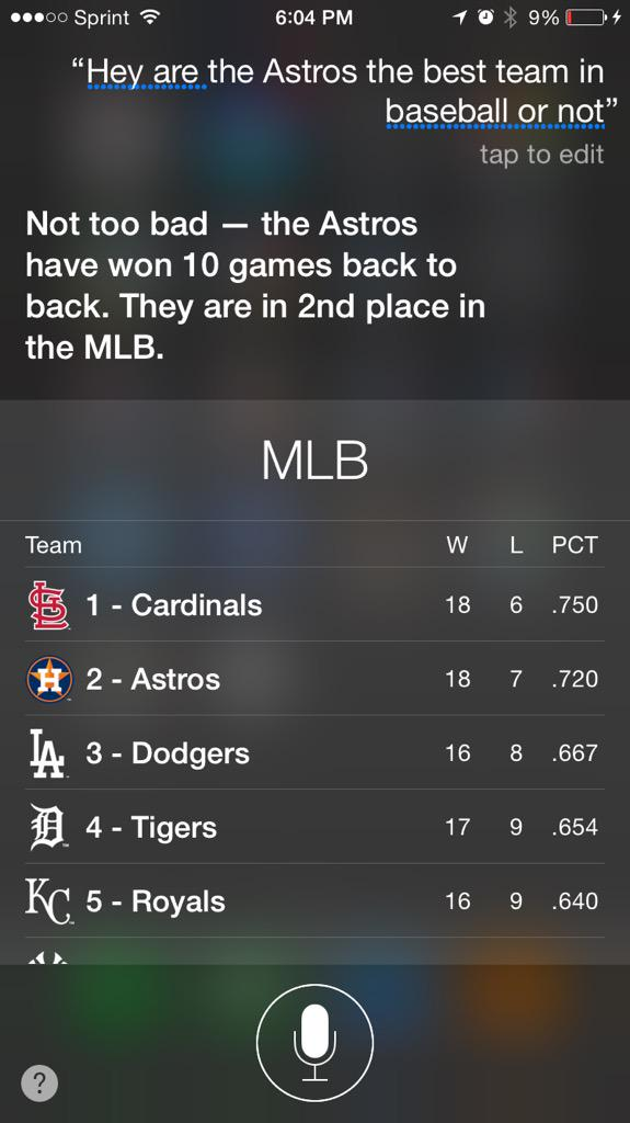 Siri is hard to please. #Astros http://t.co/Zf6keRe2LD