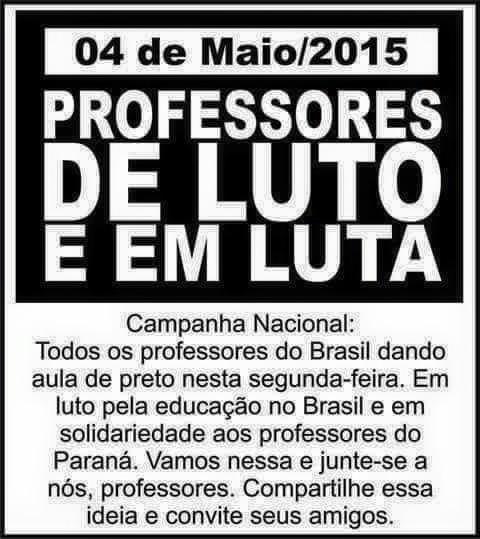 #Professores de luto nesta segunda-feira! #violência #Paraná http://t.co/ShNJpQzC5C