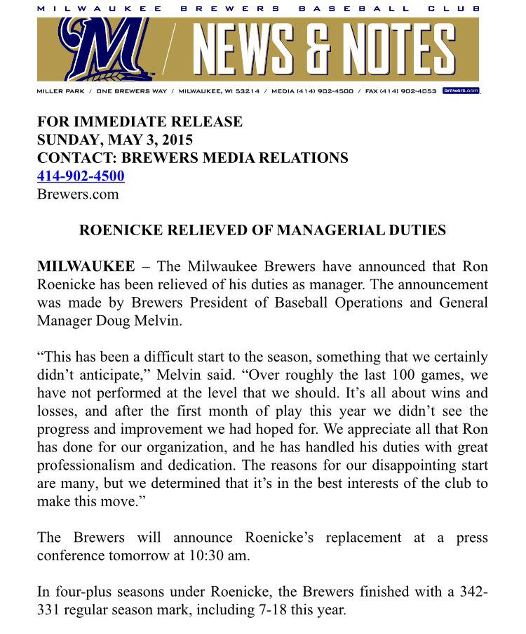 Roenicke relieved of managerial duties: http://t.co/MKPngn9ykO