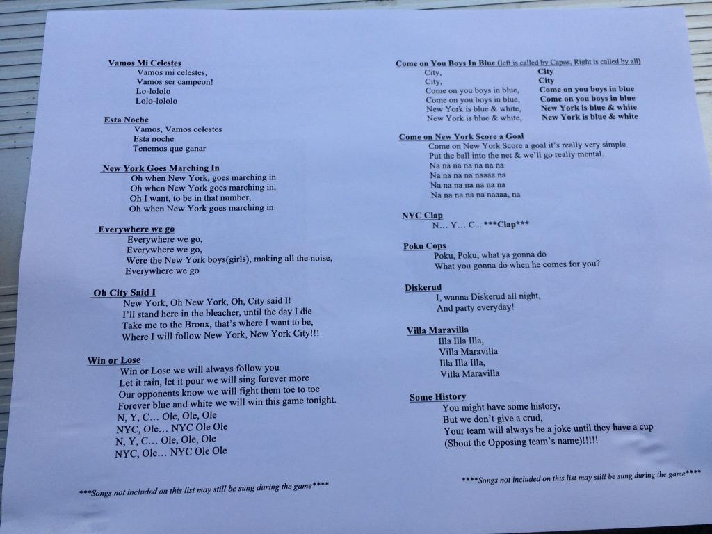 These song sheets are given out at New York City FC matches, making them pretty much the worst club in the world http://t.co/uh7HiV7XT8