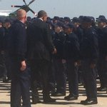 Pres Obama on the Tarmac with the presidential logistics team http://t.co/PbprWLeu3h