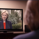 .@CarlyFiorina watching @HillaryClinton in her announcement video #meta https://t.co/NdEUZGDpmt http://t.co/7ni8MFVHAG
