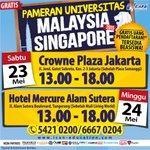 Education Fair MALAYSIA-SINGAPURA 2015 @ Crowne Plaza&Mercure Alam Sutera| 23/5/2015 Follow @icaneducation http://t.co/F2qfyzfD2B