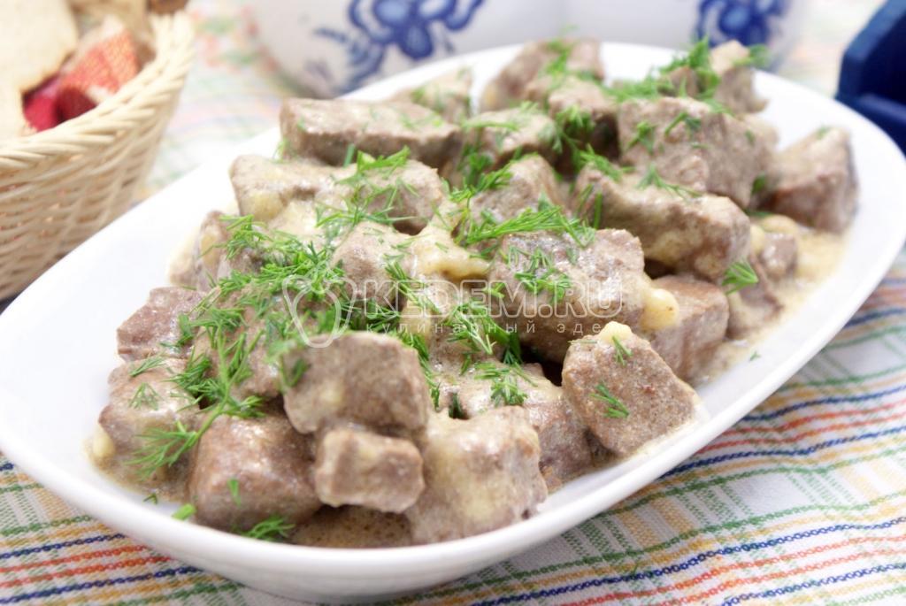 Свиная печень в сметане с луком рецепт с пошагово