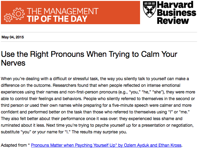 Today's management tip: how to talk to yourself when preparing for a presentation or event http://t.co/09OARIf3Lm