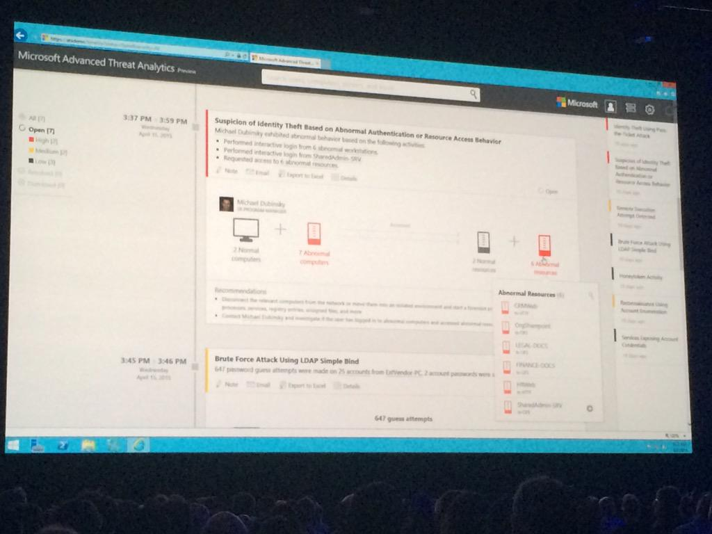 Microsoft's new threat analysis tools, which went into preview this morning #MSIgnite http://t.co/K1AgRQ8cI7