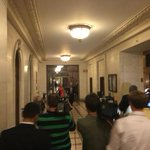"""Latest at 11: """"@SDiMascioWNYT: Sen. Maj. Leader Skelos heads to conference w/GOP colleagues. No answer to questions. http://t.co/Mb58Qlt5mq"""""""