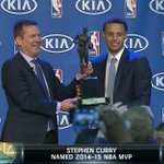 .@StephenCurry30 gets his trophy! #MVP http://t.co/ZlAhW2KflO