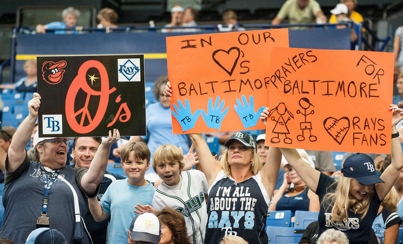"As the O's played ""home"" games in Florida, Rays fans showed incredible support for Baltimore: http://t.co/nbvKL7OI6b http://t.co/QWu7rafc8P"
