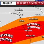 The best chance of severe weather tonight will be in SE Nebraska, NW Missouri and SW Iowa. Concerns are hail & wind. http://t.co/r6ei2rCctG