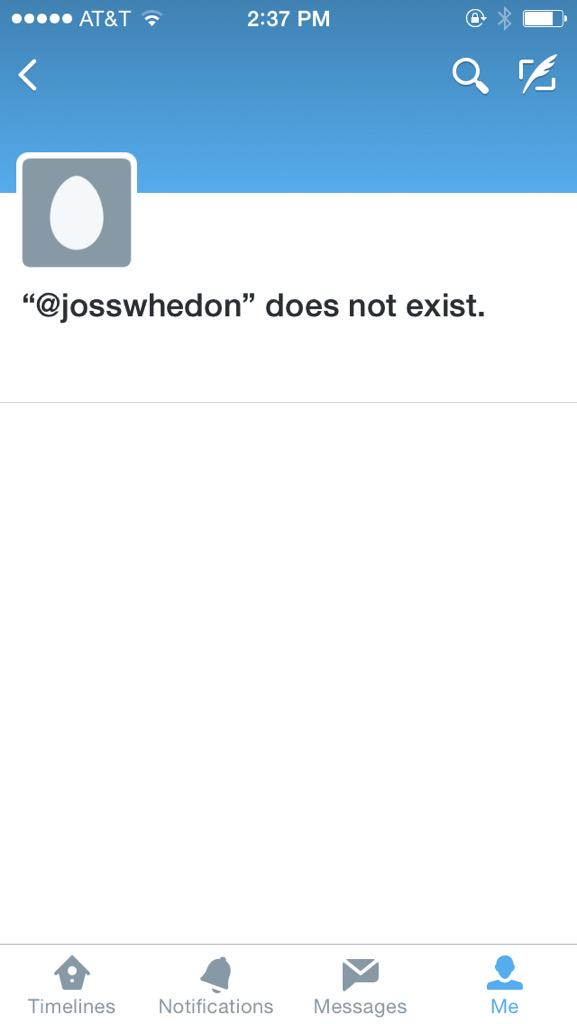 Joss Whedon Beloved Storyteller, Exhausted Tweeter He saved the world. A lot. http://t.co/Y6uJCb8An4