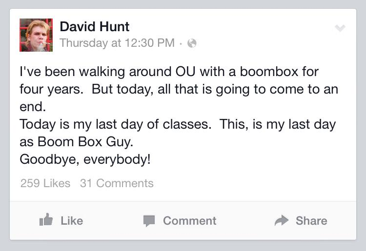 Boom Box Guy, aka David Hunt, said goodbye to OU last week. http://t.co/NOyejCzdvh http://t.co/Frd0vhQwL4