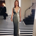 Wearing a pale green sequin @Burberry gown, @SophieT is red carpet ready for the #MetGala http://t.co/ojSuDK0Flg