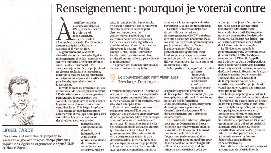 #PJLRenseignement #UMP Ma tribune dans @Le_Figaro de ce jour ... je voterai contre http://t.co/EEFSygCg48
