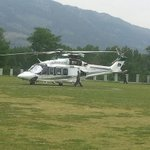 Helicopter stops play ! Pic via @UbaidAwan of Pakistan PMs son-in-laws helicopter which stopped play in a U19 match http://t.co/Bf3Ge53zaa