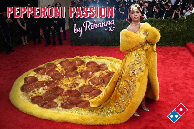 Great to see @Rihanna sporting this tasty number at the #MetGala #MetGala2015. #GiveThatDivaADominos http://t.co/ZElkuvaBhk