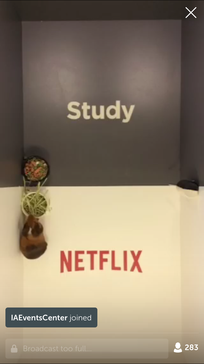 Totally rad… @netflix has a live @periscopeco on now with a hamster deciding if we should study or watch Netflix. http://t.co/yLCx6QJTFj
