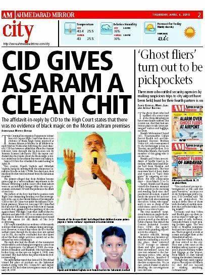 CID found no proof of black magic in Asaram Bapu Ji's Ashram! http://t.co/FMArLiCPS6