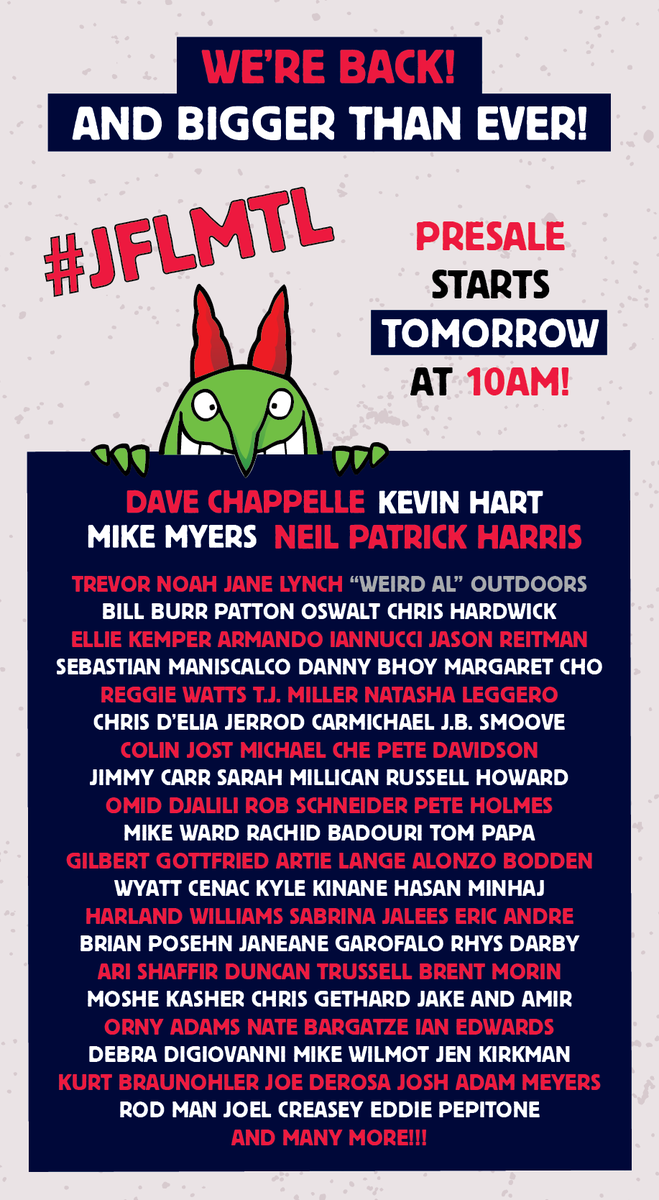 IT'S FINALLY HERE!!! Just For Laughs 2015 Lineup #JFLMTL MORE TO COME! http://t.co/Qhx37FwtNr http://t.co/5avDTjtXIw