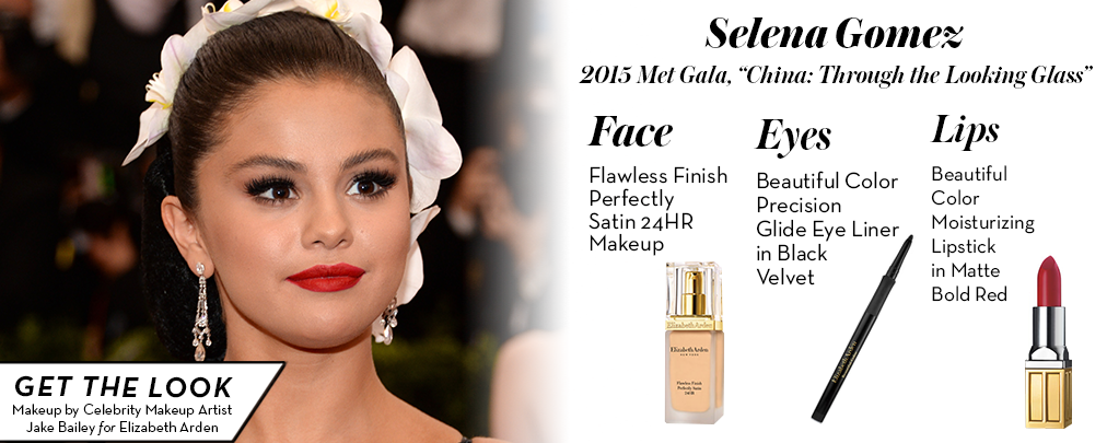 The key to #SelenaGomez's striking #MetGala beauty is Flawless Finish 24HR Makeup & an #ArdenRed lip! @ByJakeBailey http://t.co/OOIUQmcpzO