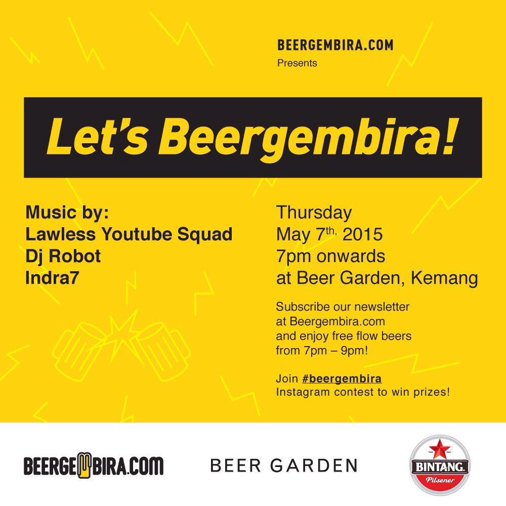 Besok nih di @beergardenjkt Kemang. Subscribe ke http://t.co/05veeZ3JST supaya bisa freeflow bir. Khusus 21+ http://t.co/F8r694CBgH