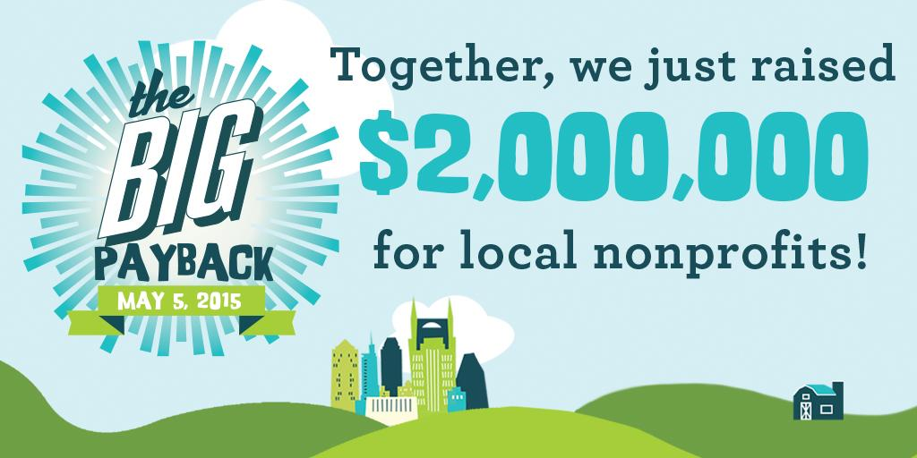 CELEBRATE #NASHVILLE & MIDTN $2 MILLION FOR OUR COMMUNITY & 3 HOURS TO GO. http://t.co/kYIO34LwSd #BigPayback http://t.co/nWnGNh93nb
