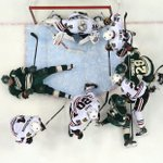 Corey Crawford makes the save with a crowd in his crease on his way to #Blackhawks shutout: http://t.co/3vWtyw8aTy http://t.co/kDWk1kjZli