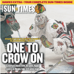 The @Suntimes Hawks Extra cover, featuring Corey Crawford, who was perfect in Game 3 win. http://t.co/pGp3JXCpmV
