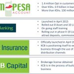 """Some of the major product launches this quarter included KCB-Mpesa A/c, Sahl Banking & our KCBIA"" #KCBQ1Results http://t.co/qiHB9lznoK"