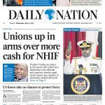 TODAYS PAPER: Unions up in arms over more cash for NHIF http://t.co/cMbnYmIg4v http://t.co/ZbRYyhEugT