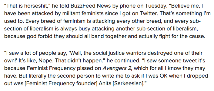 No, Joss Whedon did not leave Twitter because of feminists. http://t.co/MauiuCdX8c cc @pattonoswalt http://t.co/3fnGQei9WA