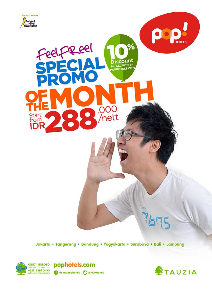 POP Hotels SPECIAL PROMO OF THE MONTH Starts from 288.000 Nett* Call Center 021-5296 0490 @PopHotels #MPlusAd http://t.co/BZY1YmrJ5I