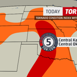 #TorCon of 5 today for central #Oklahoma & central #Kansas; latest forecast & timing of storms http://t.co/NTZP964ylE http://t.co/eHVX6wamKQ