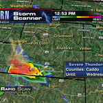 Here we go! Severe Tstorm Warning for Caddo county. Quarter size hail possible! #OKWX @kfor http://t.co/0FqY6ZhXLb