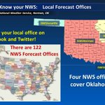 Did you know Oklahoma is served by 4 different NWS forecast offices? Be sure youre following the right office! http://t.co/83rgl6WFFz