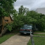 Tree split, piercing car near Madison & Rhode Island - elderly woman who lives here thought it was tornado @OKCFOX http://t.co/J0mVhaGnZe