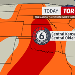JUST IN: .@DrGregForbes has raised the #TorCon to a 6 today for central #Kansas & central #Oklahoma. #KSwx #OKwx http://t.co/pgNMT06SHt