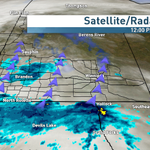 Main band of rain just reaching the Canadian border. Shwrs already S.W. MB. Details coming up on Radio Noon #cbcmb http://t.co/GBosjyZ3hk